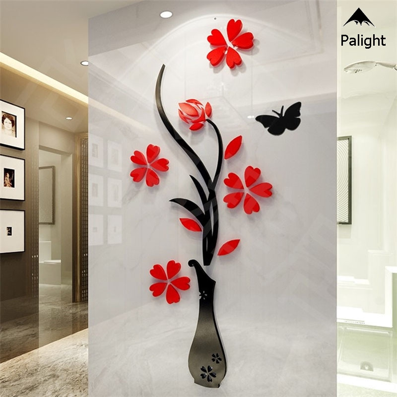 ✨PA✨ 32*80cm Wall Sticker Removable 3D Mirror Romantic Flower Stickers DIY Art Decal Home Bedroom TV Background Decoration