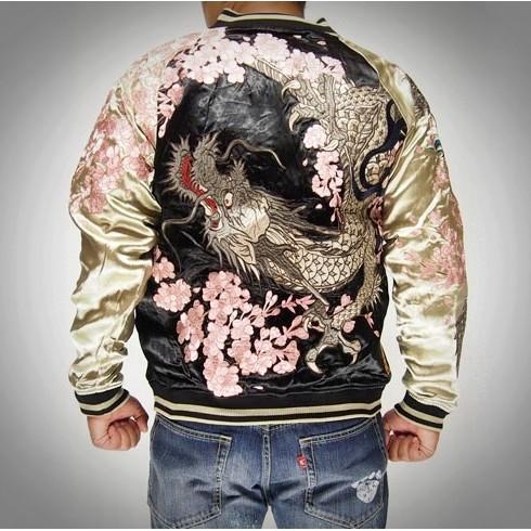 SUKAJAN พรีเมียมเกรด Japanese Souvenir Jacket  แจ็คเกตซูกาจันลาย  มังกรซากุระ