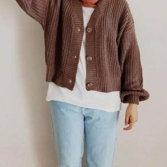 Tm เสื้อคาร์ดิแกนตัวยาวแบบพรีเมี่ยม - Oversize -cro