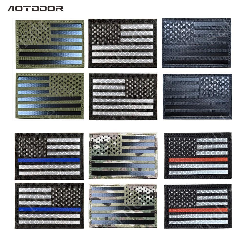 US Flag IR Reflective Military Morale Velcro Patches Tactical Combat Emblem  Appliques