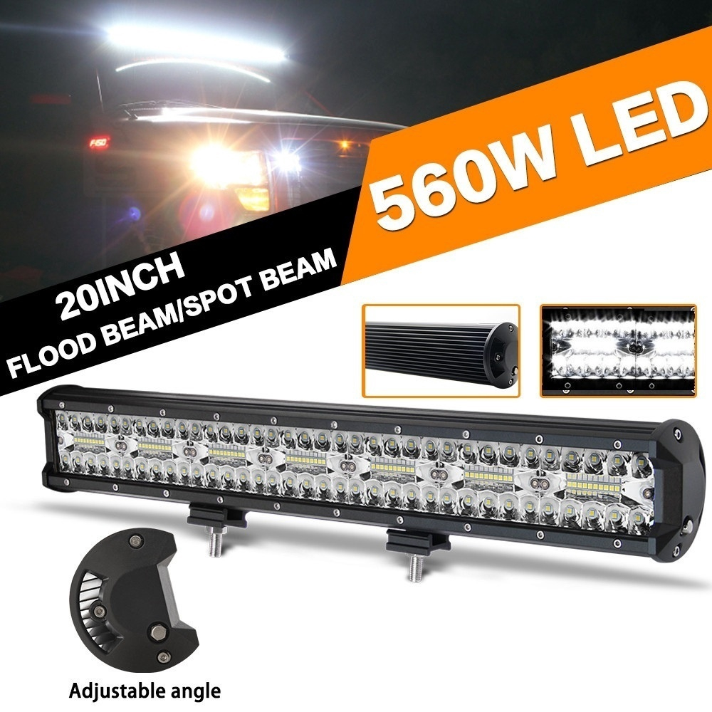 Amber 20inch 90W Flood Spot Slim Single Row LED Work Light Bar for Car SUV 4WD