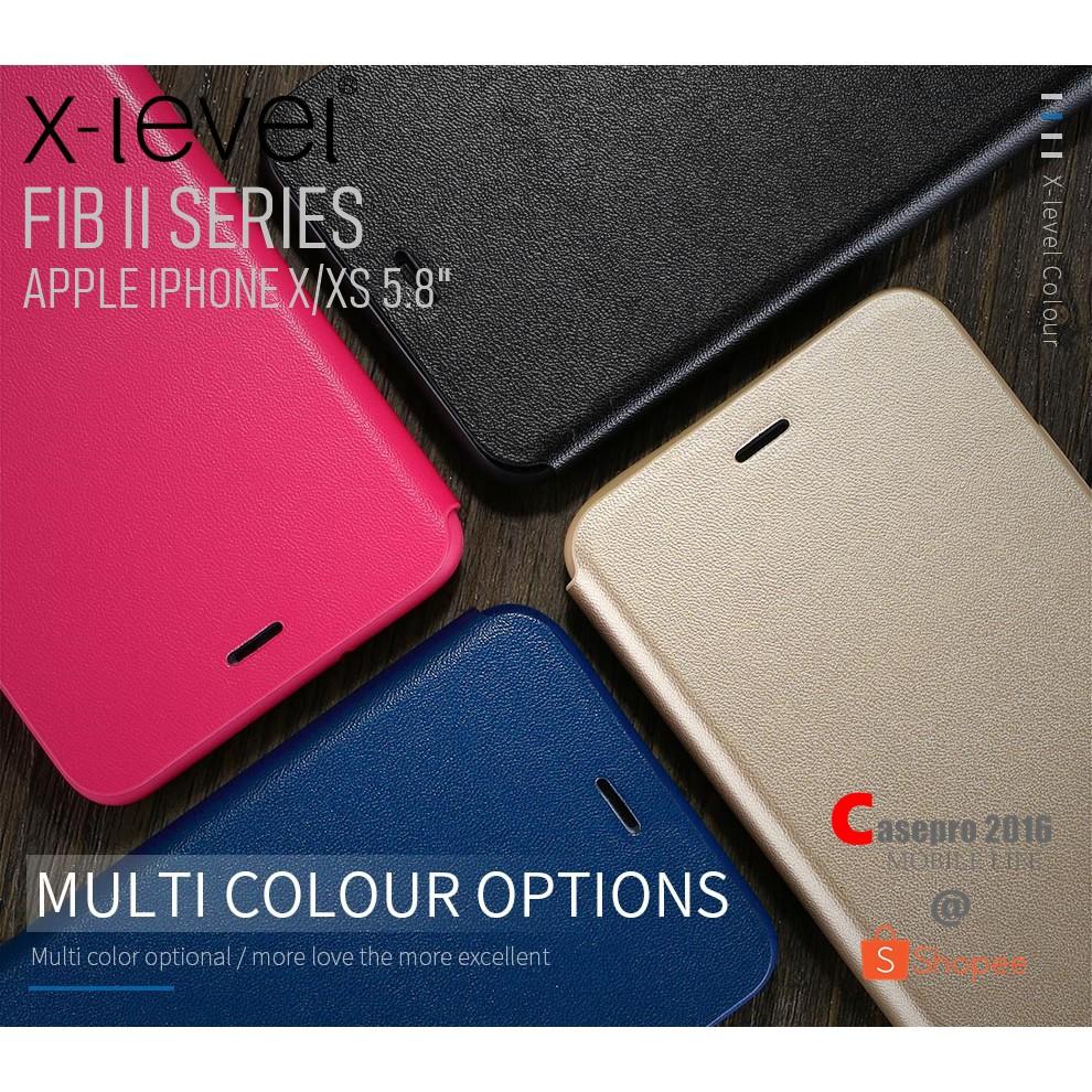 "X-LEVEL FIB II เคสหนังฝาพับกันกระแทก รองรับ APPLE IPHONE X/XS 5.8"""