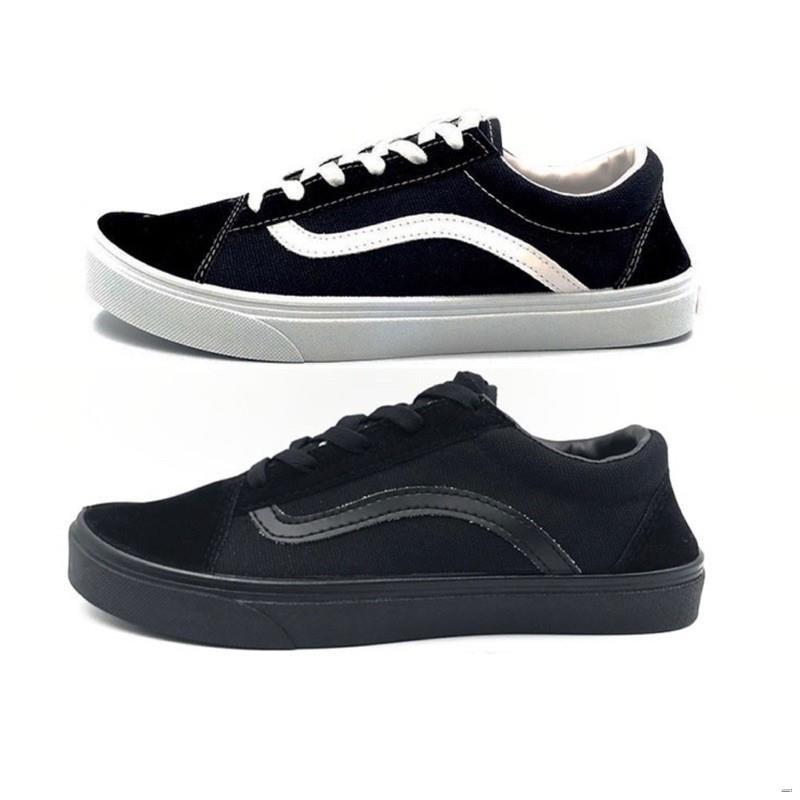 ยางยืดออกกําลังกาย☎Leo V1 (ลีโอ สตาร์) รองเท้าผ้าใบทรงแวนส์โอสคูล (vans old skool) รองเท้าผ้าใบแบบผูกเชือก ทรงแวนโอสคูล
