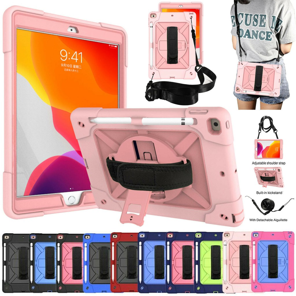 """Apple IPad 8th Gen 10.2"""" 2020 Protective Shell/Skin Case Shockproof Hybrid Armor Stand Hard Cover Pencil Holder with Kic"""