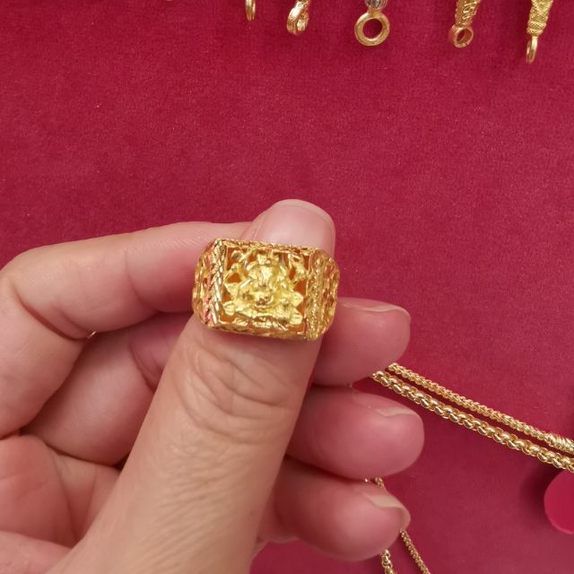 แหวนทองพระพิฆเนศ 96.5%  น้ำหนัก 2 สลึง ไซ้ร 57 ราคา 14,700บาท