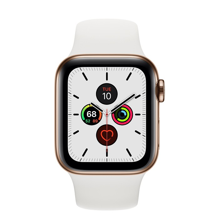 APPLE WATCH SERIES 5 GPS + CELLULAR 40MM STAINLESS STEEL CASE WITH WHITE SPORT BAND