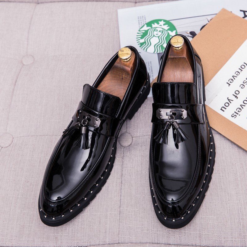 รองเท้าคัชชูผู้ชาย รองเท้าหนังผู้ชาย รองเท้าหนังลำลอง สไตล์นักธุรกิจ สีดำ สำหรับผู้ชาย