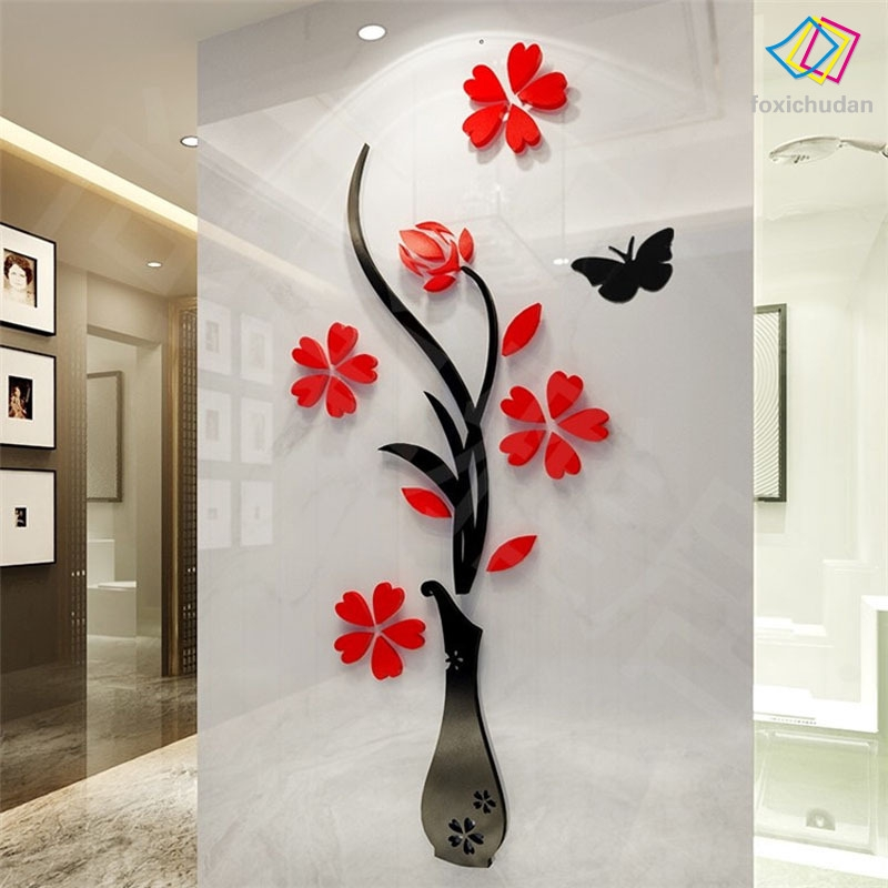 FCD☆ 32*80cm Wall Sticker Removable 3D Mirror Romantic Flower Stickers DIY Art Decal Home Bedroom TV Background Decoration