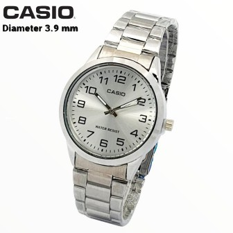 Casio นาฬิกาข้อมือสายสแตนเลส (MTP-V001D) (LTP-V005D) สีเงิน