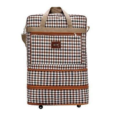 กระเป๋าเดินทางพับได้มีล้อลาก ยืดขยายได้ ลายสก็อต (พร้อมส่ง)