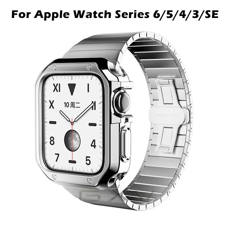 ღღStainless Steel Strap for Apple Watch 44mm 40mm Metal Link Bracelet for Apple iWatch Series 6/5/4/3/2/SE Plating Case