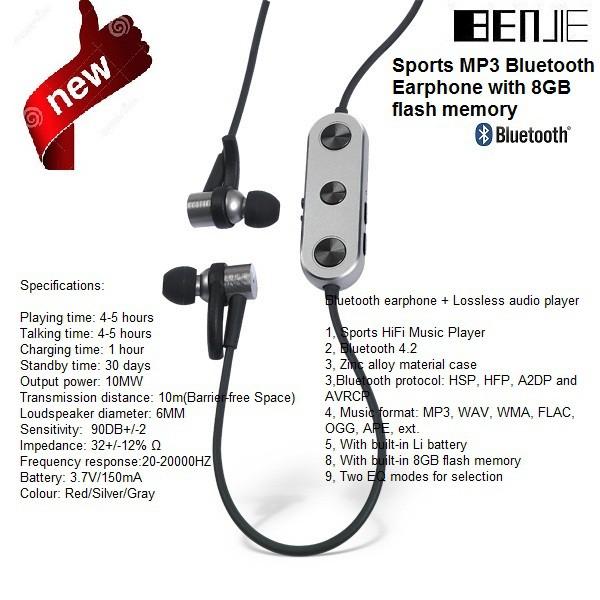 BENJIE Sports MP3 Bluetooth Earphone with 8GB หูฟังไร้ฟังเพลงได้ในตัวมีแมม  8 GB
