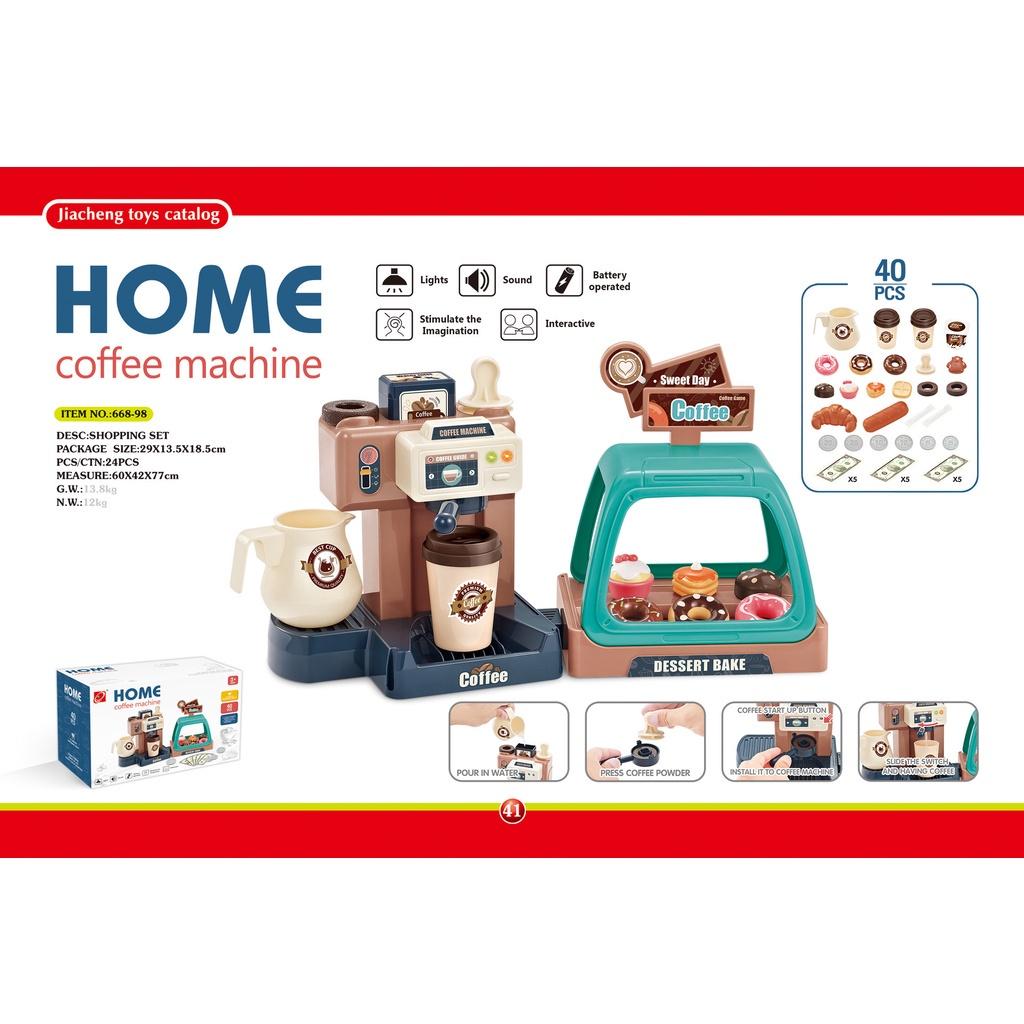 เด็กจำลองของเล่นเพื่อการศึกษาสำหรับเด็กผู้หญิงเด็กเสียงและแสงเครื่องทำกาแฟขนมขนมช้อปปิ้งแคชเชียร์ซูเปอร์มาร์เก็ต Play House ของเล่นเหมาะสำหรับเด็กอายุมากกว่า 3 ปี