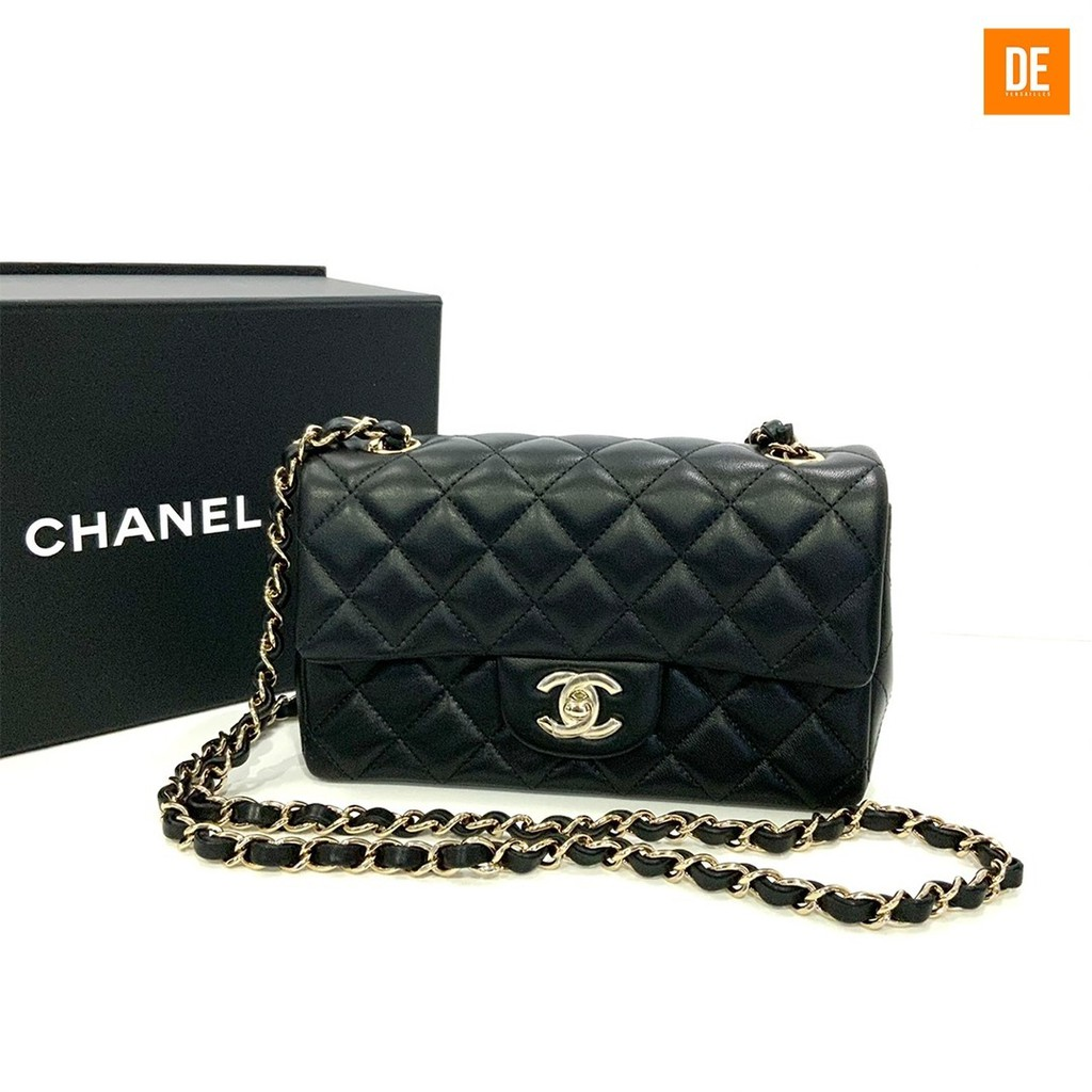 "กระเป๋าสะพาย New Chanel Classic Mini 8"" Lamb Skin in Black Ghw Holo30, Full Set Original Rec. : GN1370A"