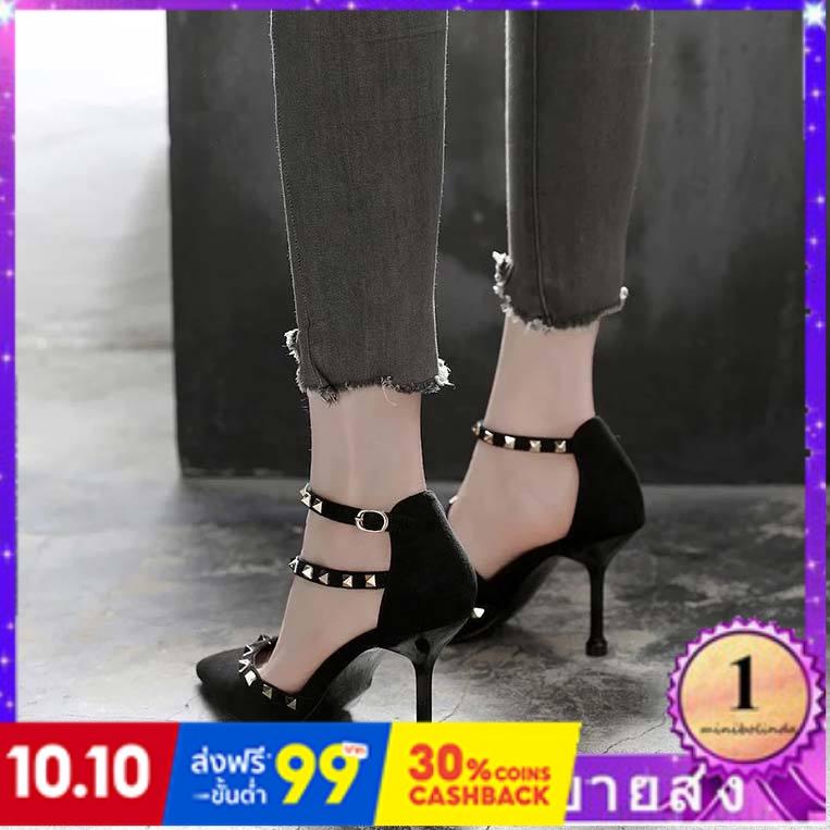 ⭐👠รองเท้าส้นสูง หัวแหลม ส้นเข็ม ใส่สบาย New Fshion รองเท้าคัชชูหัวแหลม  รองเท้าแฟชั่นผู้หญิงลมหมุดแฟชั่นดีกับรองเท้าส้นแ