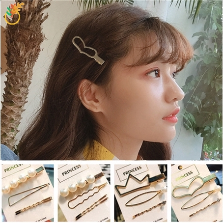 Pearl Hairpin Fashion Headdress Clip Pin Barrette Bobby Hair Hairband Geometry