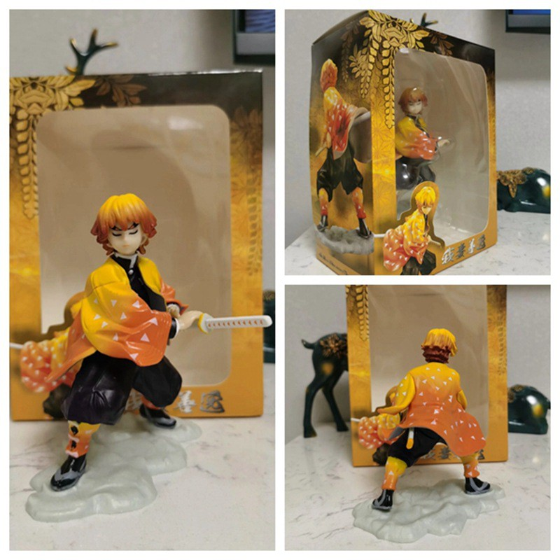 Anime Demon Slayer Kimetsu no Yaiba Figure Agatsuma Zenitsu Figurine Tanjirou Nezuko PVC Action Figure Model Toys Doll Gift 12cm