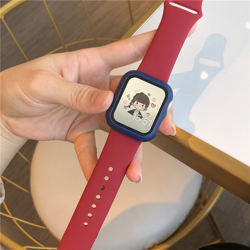 iwatch strap and case integrated for Apple loop strap female liquid silicone se series/6/4/3/2/1applewatch sports tide b