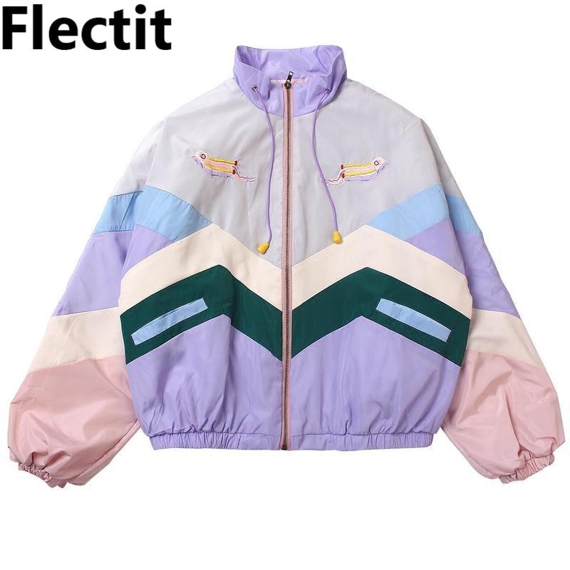 Please COD   Flectit Women Pastel Bomber Jacket Cute Embroidery Color Block Duster Souvenir Sukajan Jacket Japanese Girl