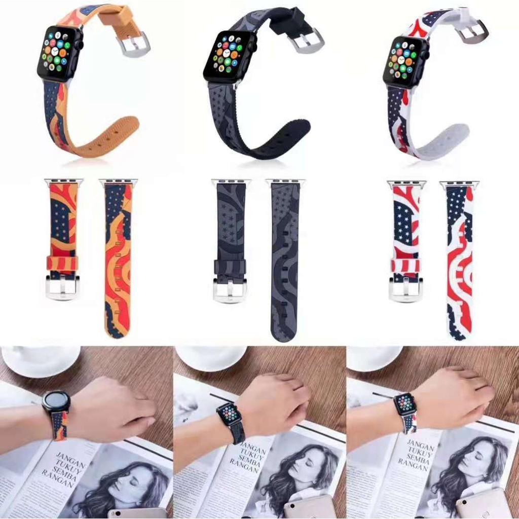 รูปแบบธง Apple Watch strap ซิลิโคนเหลว สายนาฬิกาข้อมือ iWatch Series SE 6 5 4 3 2 1สาย applewatch 38 40 42 44mm