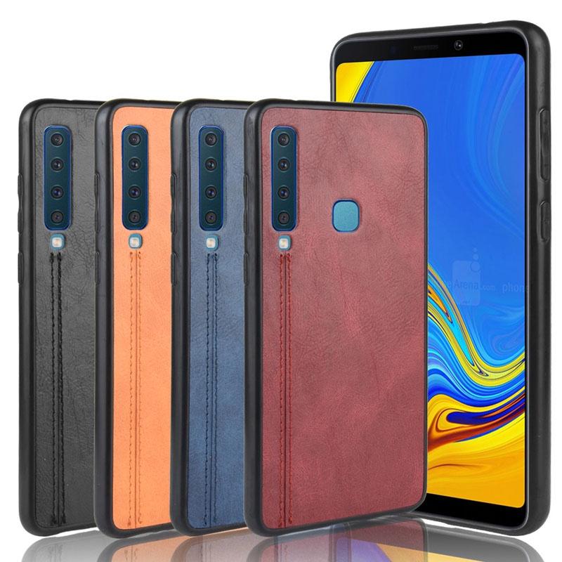 Samsung Galaxy A9 A9S A8 A7 A5 A6 A750 A02S A01 MO1 Star Pro Plus Core 2018 Leather Hard Case Anti-fall Back Phone Cover