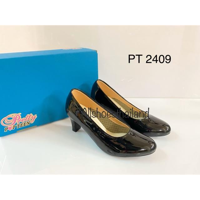 รองเท้าคัชชู popteen  pt 2409  หนังแก้ว  สำหรับ นักเรียน นักศึกษา  วัยทำงาน  สำหรับผู้หญิง
