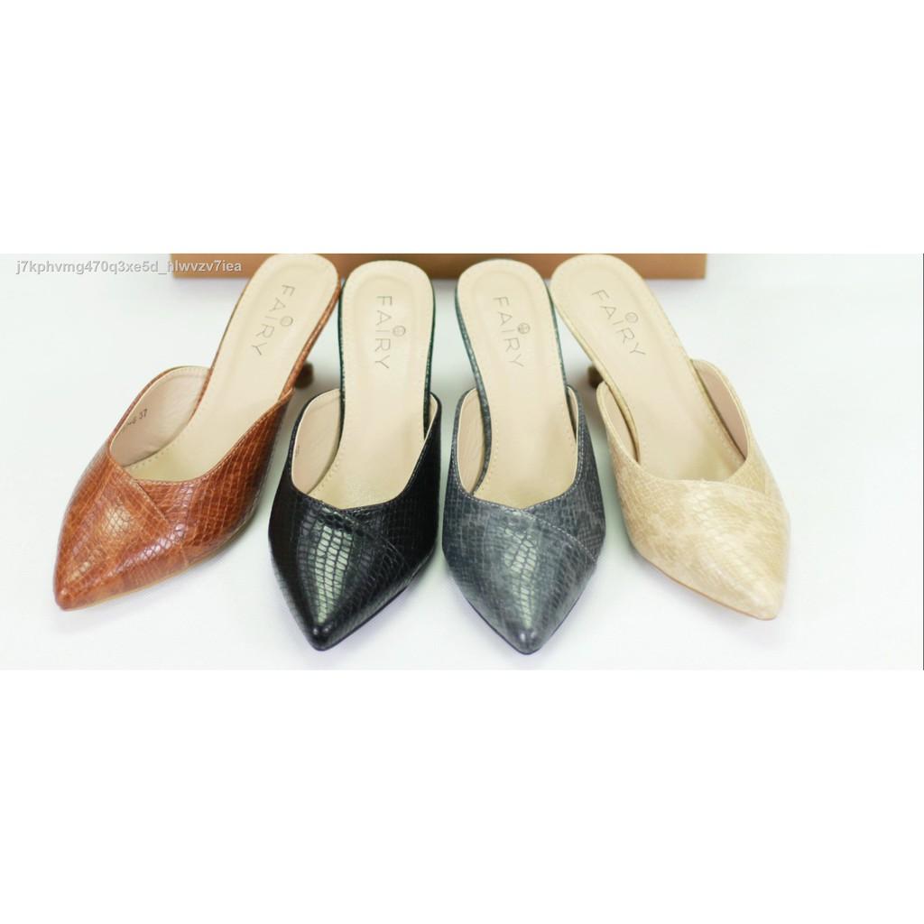 """【มีสินค้าในสต๊อก】◘❀๑9717-6 คัชชูเปิดส้นสูง 2.5""""  รองเท้าคัชชูหัวแหลม เปิดส้น ส้นสูง แฟชั่น"""