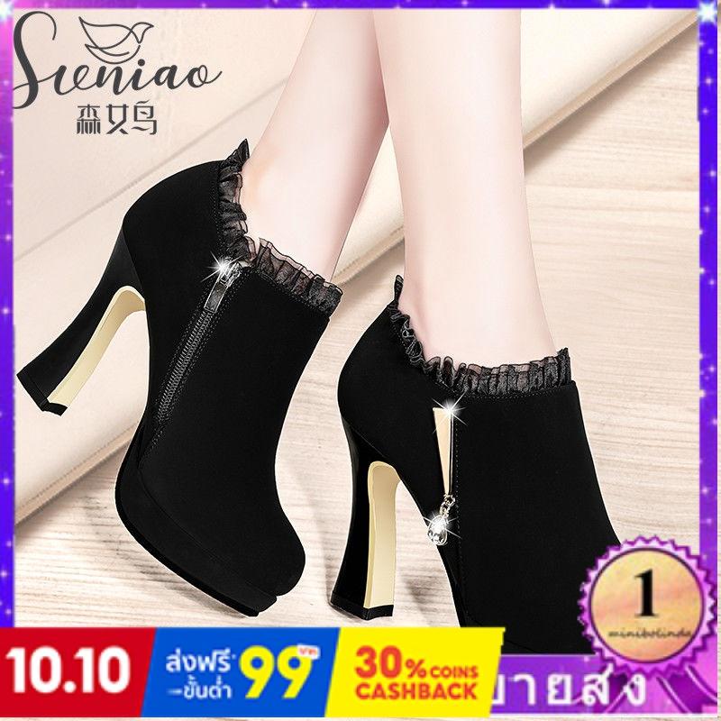 ⭐👠รองเท้าส้นสูง หัวแหลม ส้นเข็ม ใส่สบาย New Fshion รองเท้าคัชชูหัวแหลม  รองเท้าแฟชั่นหนากับรองเท้าผู้หญิงรองเท้าส้นสูงเว