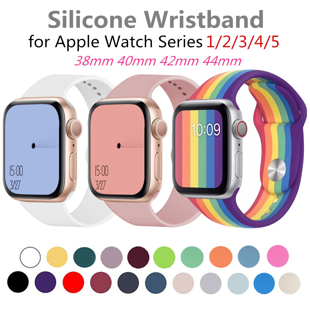 Soft Silicone Strap for Apple Watch 40mm 44mm Rainbow Replacement Sport Bracelet Rubber for iWatch Series 6/5/4/3/2/1 Wrist Band 38mm 42mm