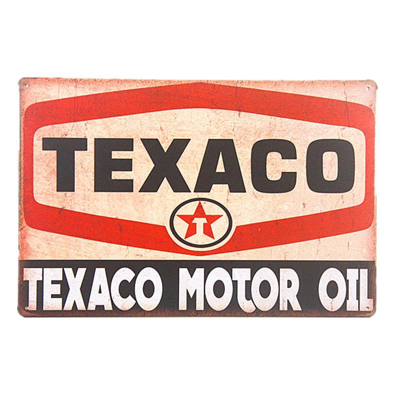 TEXACO PETROLEUM PRODUCTS Round Sign Tin Vintage Garage Bar Decor Old Rustic