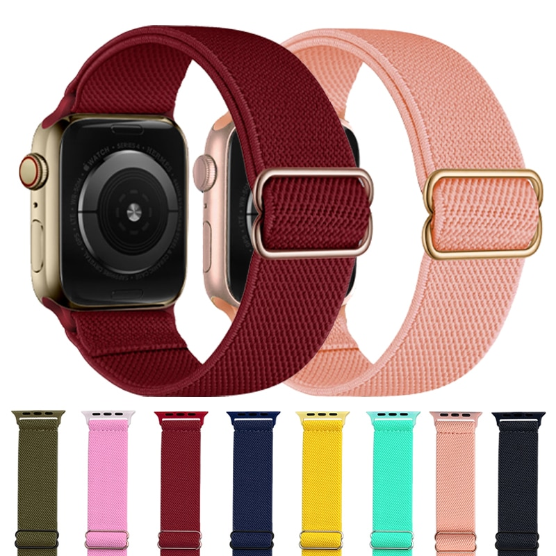 Strap For Apple Watch Band 44mm 40mm 38mm 42mm Adjustable Elastic Nylon Solo Loop Bracelet iWatch Series 3 4 5 6 Se Wris