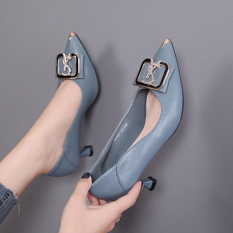 รองเท้าส้นสูง หัวแหลม ส้นเข็ม ใส่สบาย New Fshion รองเท้าคัชชูหัวแหลม  รองเท้าแฟชั่นรองเท้าผู้หญิงหนังอิตาเลี่ยนรองเท้าส้