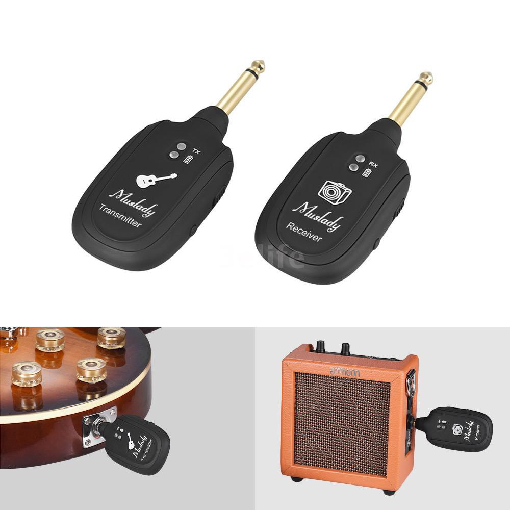 Muslady Transmitter and Receiver Wireless Guitar System 2.4 GHz Rechargeable 30