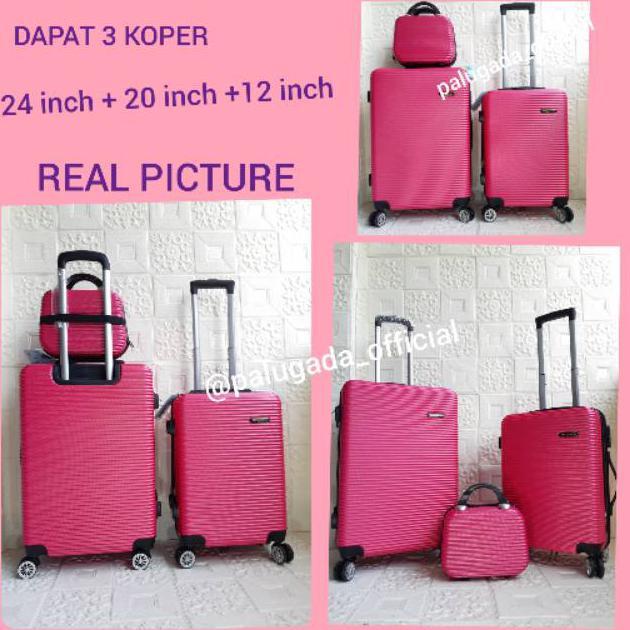 () ชุดกระเป๋าเดินทาง (กระเป๋าเดินทาง 3 ช่อง) Abs 010 24 นิ้ว + 20 นิ้ว + เคส 12 นิ้ว