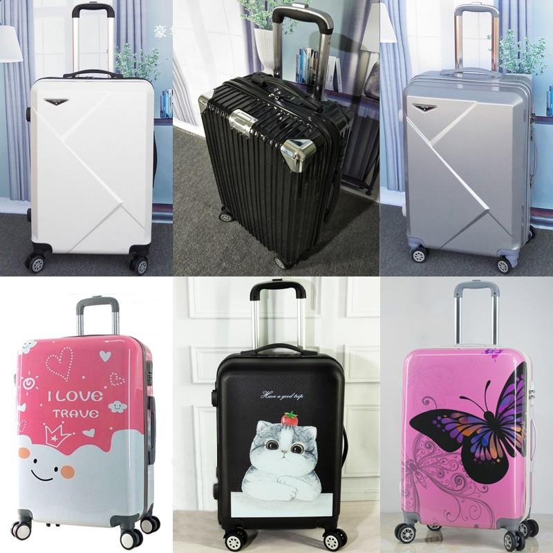(gghh) กระเป๋าเดินทางมีล้อเลื่อนสไตล์เกาหลีขนาด 24 นิ้ว 26 นิ้ว