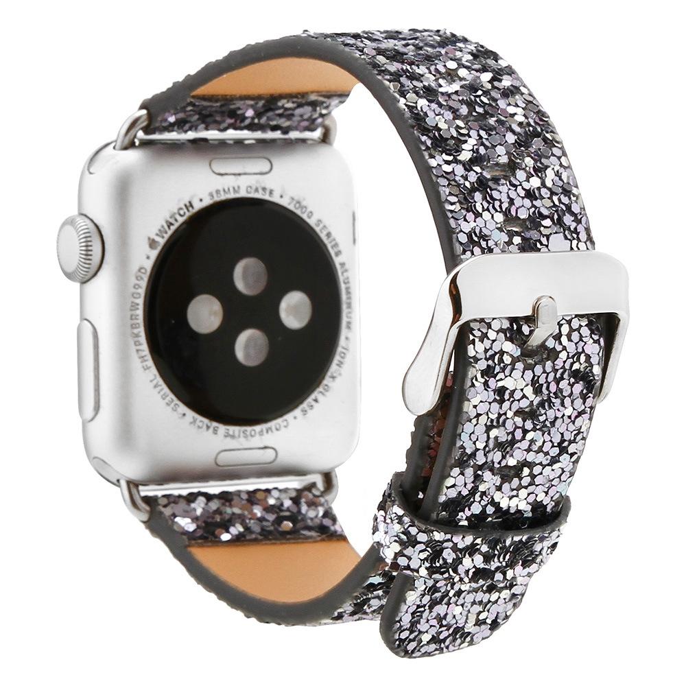 สายนาฬิกาข้อมือสายหนังประดับเลื่อมสําหรับ Applewatch