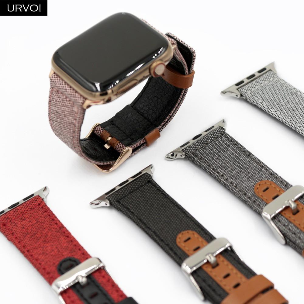 Urvoi สายนาฬิกาข้อมือผ้าใบสําหรับ Apple Watch Band Series 5 4 3 2 1