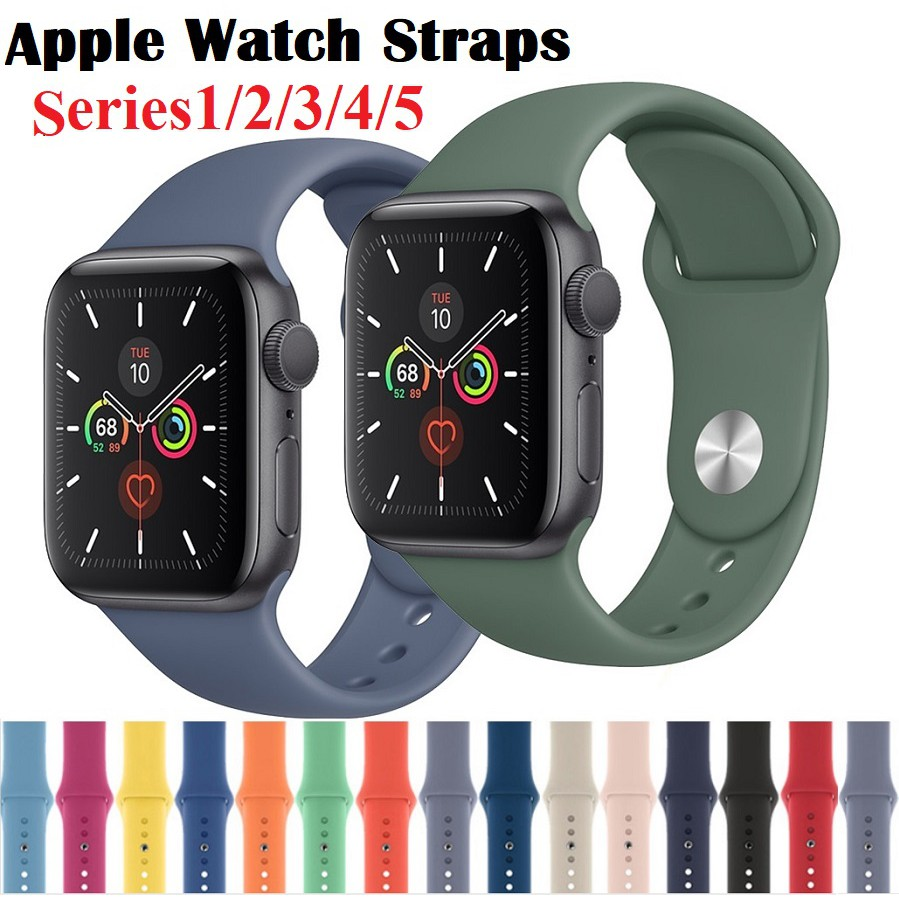 Apple watch Strap สาย apple watch band iWatch Series 6/5/4/3/2/1,Apple Watch SE ขนาด 38มม 40มม 42มม 44มม สายนาฬิกา apple watch Silicone Replacement Sport Band for Apple Watch Series 5