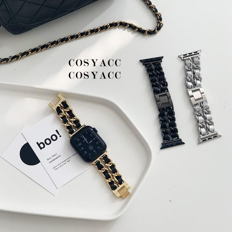 สาย applewatch Stainless Steel Chain With Leather Bracelet Strap  for iwatch Series 3 2 38mm 42mm Band for Apple Watch 6