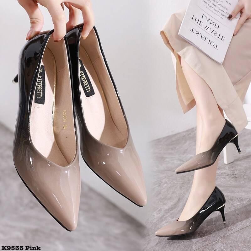 คัชชูทูโทนรองเท้าคัชชูแฟชั่นรองเท้าส้นสูงผู้หญิง