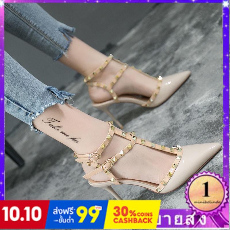 ⭐👠รองเท้าส้นสูง หัวแหลม ส้นเข็ม ใส่สบาย New Fshion รองเท้าคัชชูหัวแหลม  รองเท้าแฟชั่นรองเท้าส้นสูงของผู้หญิงในยุโรปและอเ