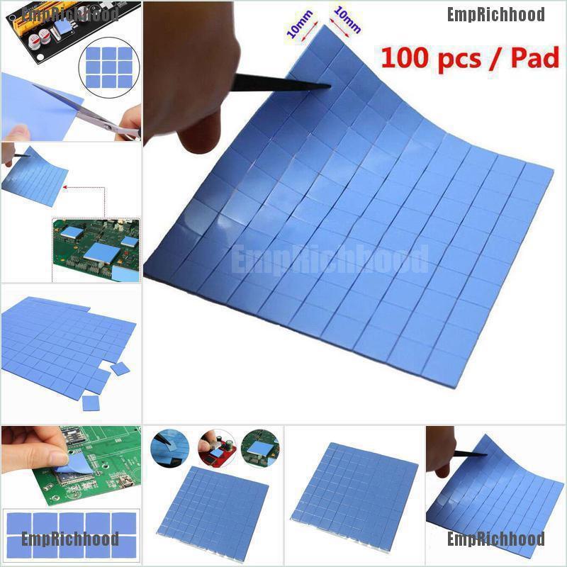 100*100*1mm Thick GPU CPU Heatsink Cooingl Thermal Pad Conductive Silicone Blue