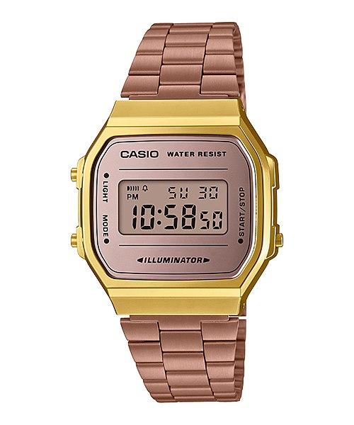 CASIO นาฬิกาข้อมือสายสแตนเลส สีชมพู  รุ่น A168WECM-5 1ilR