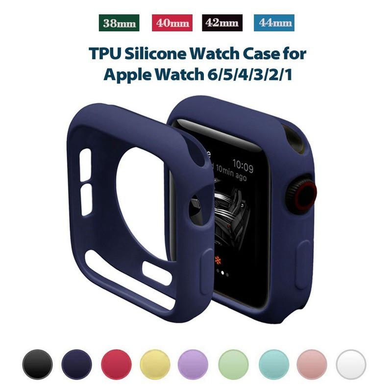 พร้อมส่ง/✐◙✥TPU Colorful Watch Case 38mm 42mm For iWatch Silicone Protective 44mm 40mm Bumper Cover Apple Series 6 5 4 3