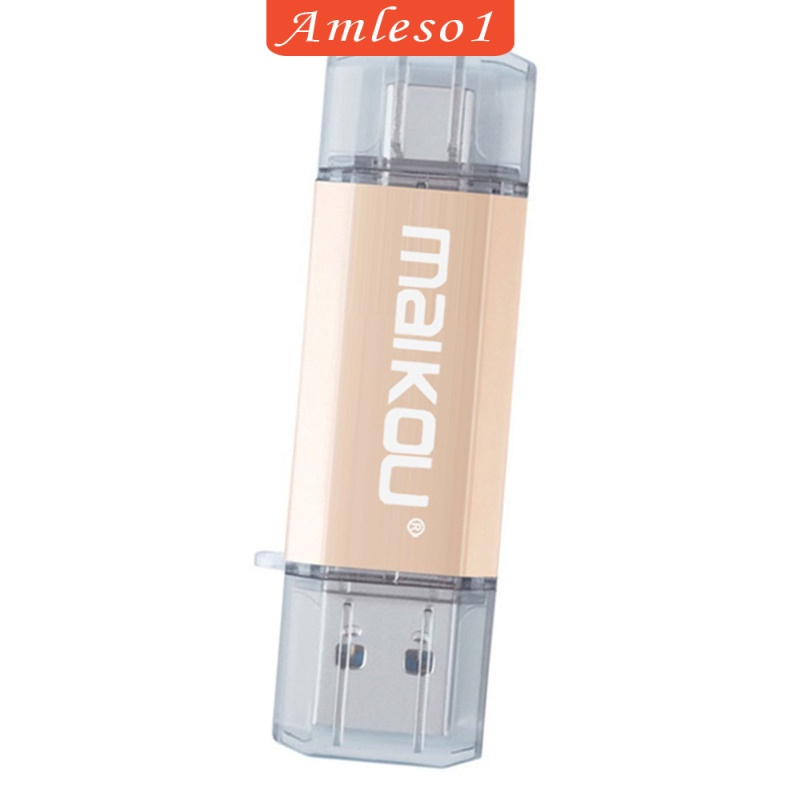 [Amleso1] แฟลชไดรฟ์ Usb 3.0 Type-C & Micro Usb สีทอง 32 กรัม