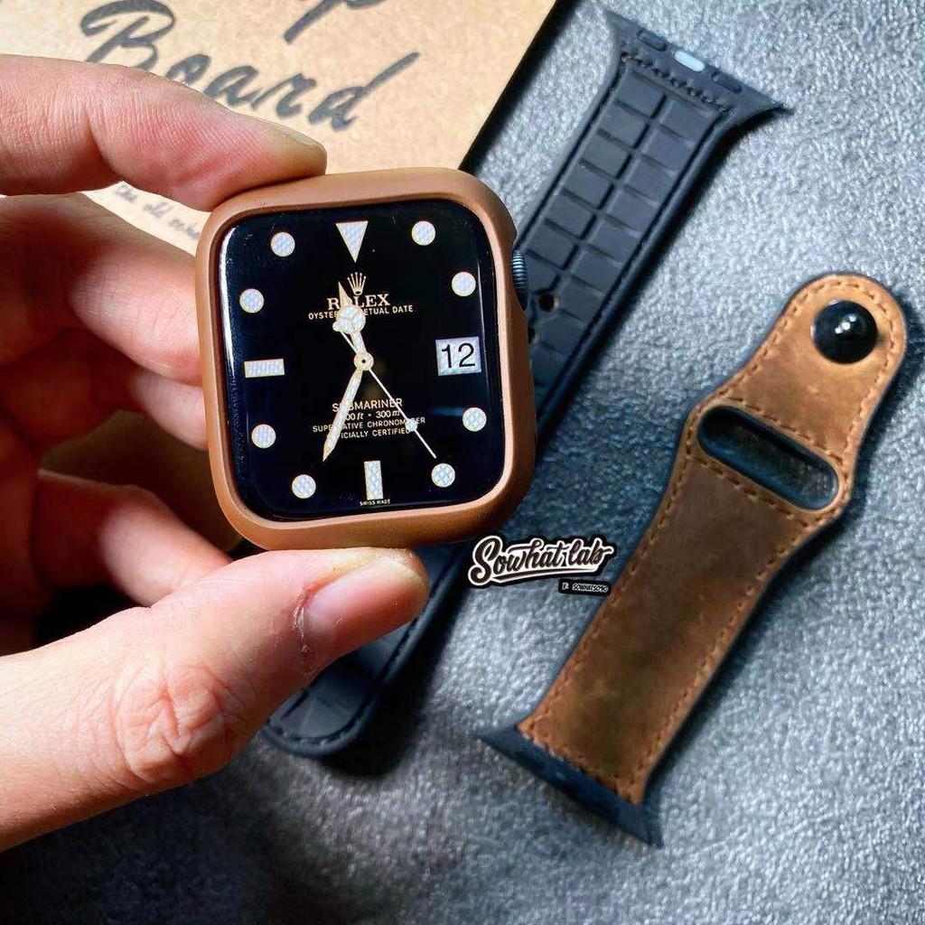 สาย applewatch✾สายหนังนิ่ม iwatch เหมาะสำหรับ Apple watch Applewatch3456 รุ่น SE การป้องกันหนังซิลิโคนสากล