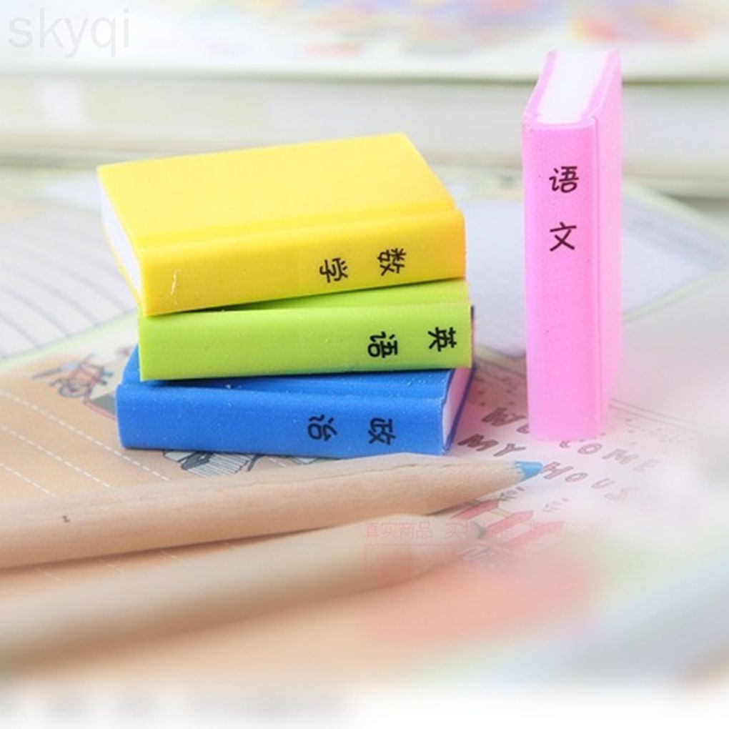 4pcs Cute Books Shaped Style Erasers Japanese Erasers Creative Book Erasers skyqi