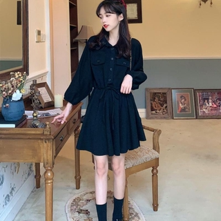Review korean solid long sleeve A-line dress midi loose casual french style Dress elegant