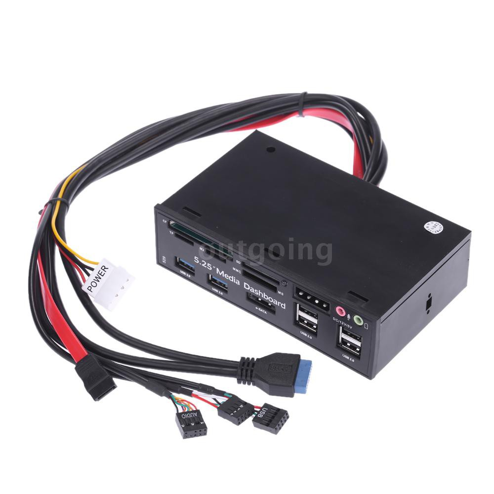 HOT USB 3.0 All-in-1 5.25 Muiti-function Media Dashboard Front Panel Card Reader