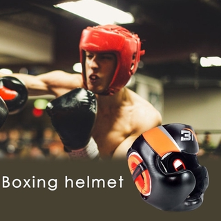 Full-Covered Boxing Helmet Muay Thai PU Leather Training Sparring Boxing Headgear Gym Equipment Taekwondo Head Guard